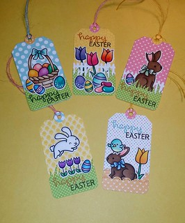 Easter gift tags featuring Lawn Fawn  Made by Curl E. Cue's  https://www.etsy.com/listing/227639742/five-happy-easter-tags-featuring-lawn
