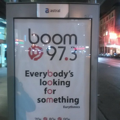 Seen downtown, an ad of my youth.  #boom97.3 #toronto #eurythmics #radio #collegepark