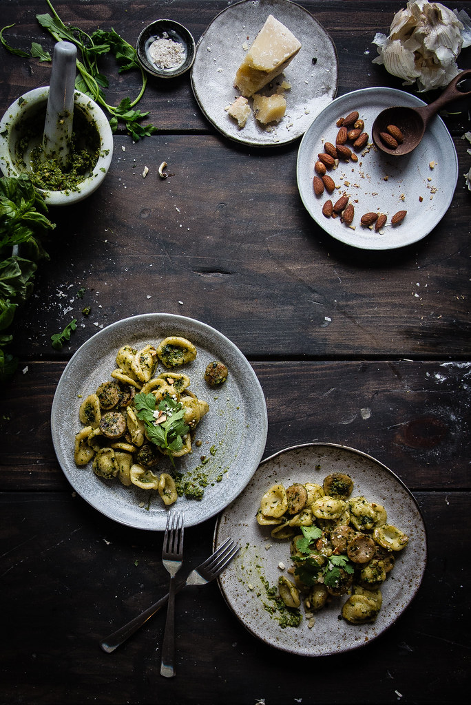 orecchiette with spring herb pesto & sausage | two red bowls