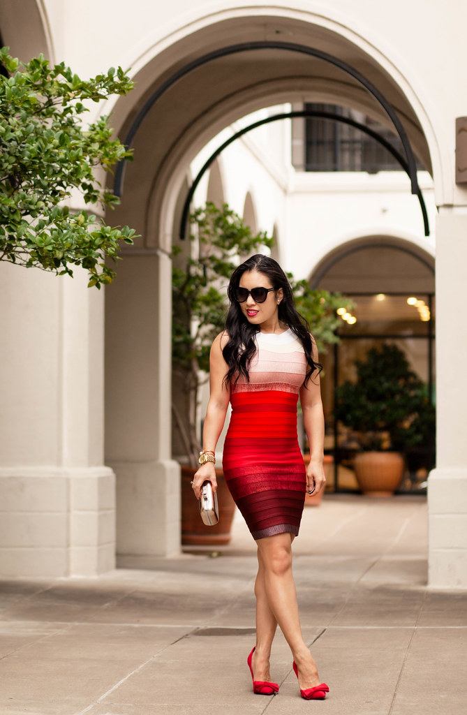 cute & little blog | petite fashion | the kewl shop herve leger red ombre bandage dress, red bow pumps, pink coat | dressy date night outfit