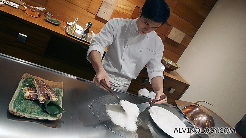 A whole chunk of sea salt was used to prepare the next dish