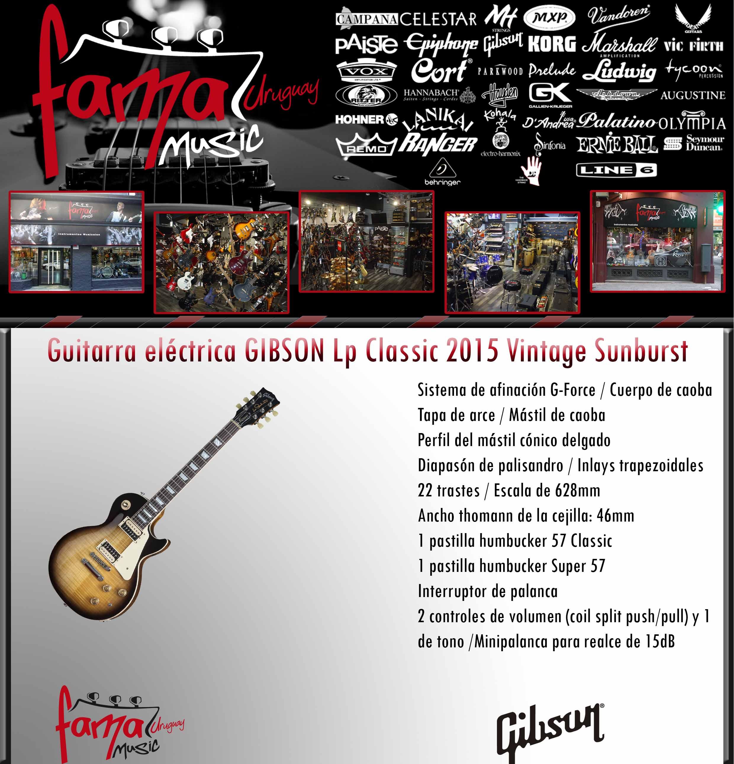 Guitarra eléctrica GIBSON Lp Classic 2015 Vintage Sunburst