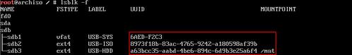 USB 碟各分區的 UUID
