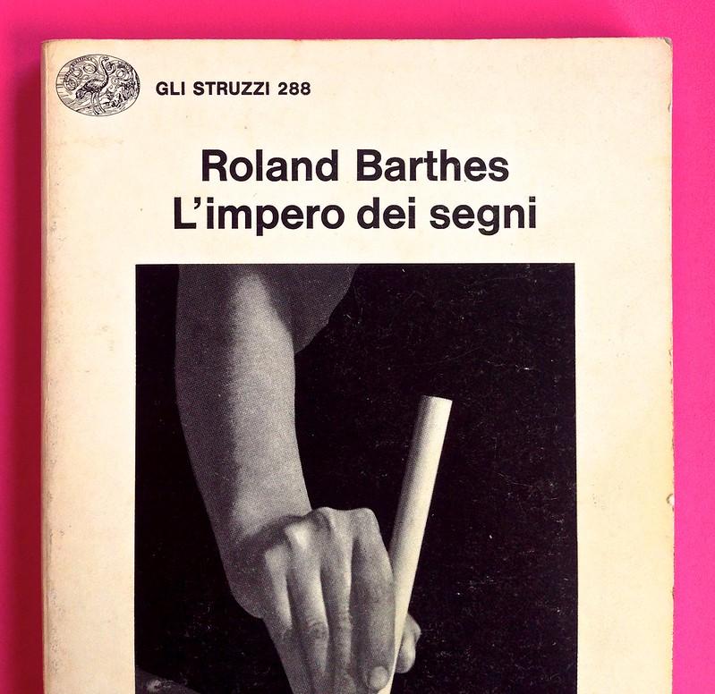 Roland Barthes, L'impero dei segni. Einaudi 1984. Copertina (part.), 4