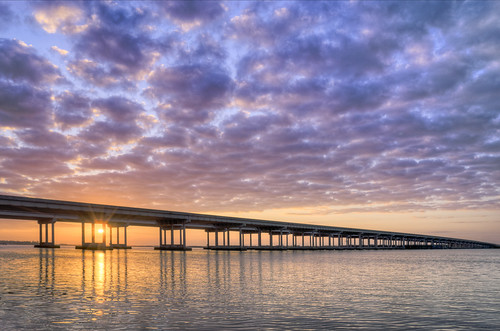 bridge clouds sunrise river unitedstates florida landscapephotography manateecounty ellenton