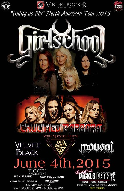 06/04/15 Girlschool/ Crucified Barbara/ Old James/ Velvet Black/ Mousai @ GB Leighton's Pickle Park, Fridley, MN