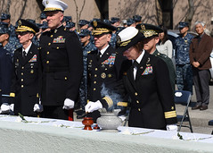 Rear Adm. Lisa Franchetti, commander of U.S. Naval Forces Korea, burns incense in front of a memorial dedicated to the Korean sailors lost during the sinking of ROKS Cheonan (PCC-772) as part of a memorial service at the CNFK headquarters in Seoul. (U.S. Navy/MC1 Abraham Essenmacher)