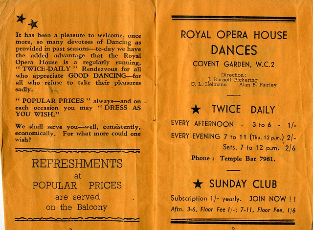 Daily Programme and Diary for Royal Opera House dances 1940 - Programme page 3
