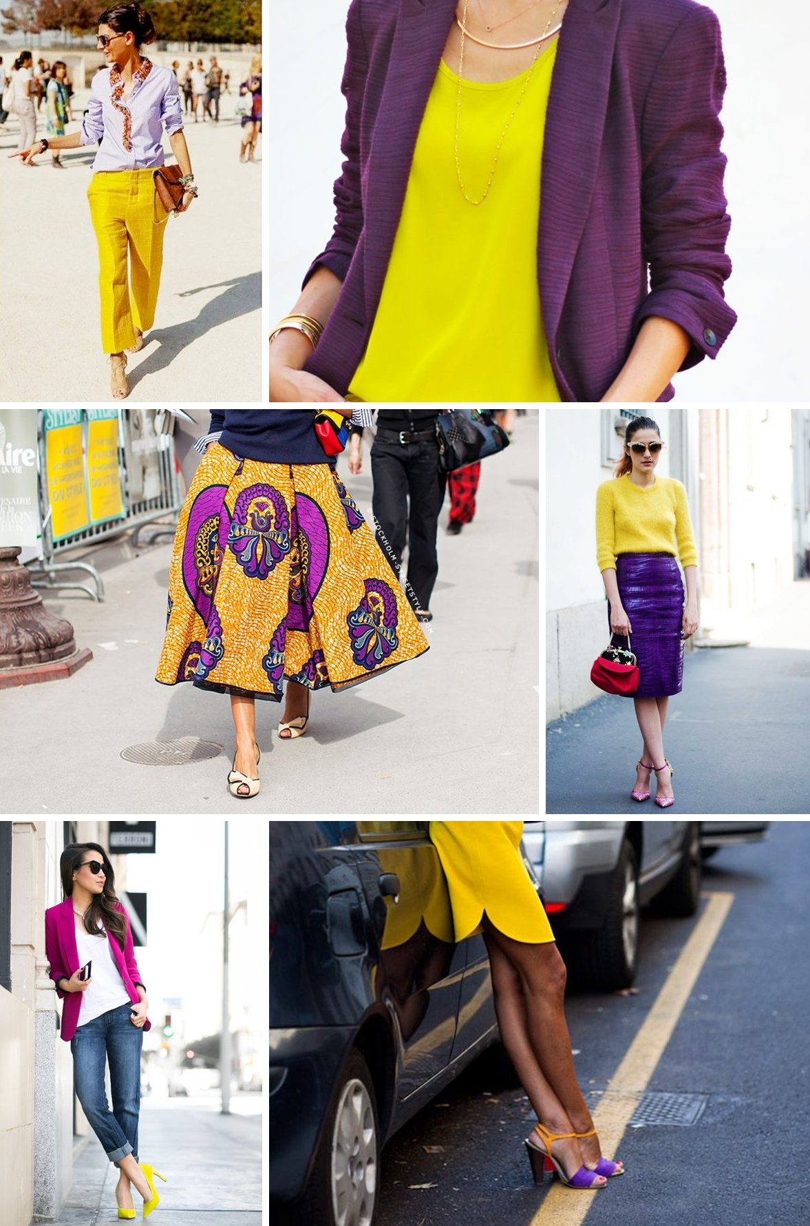 colours purple and yellow collage