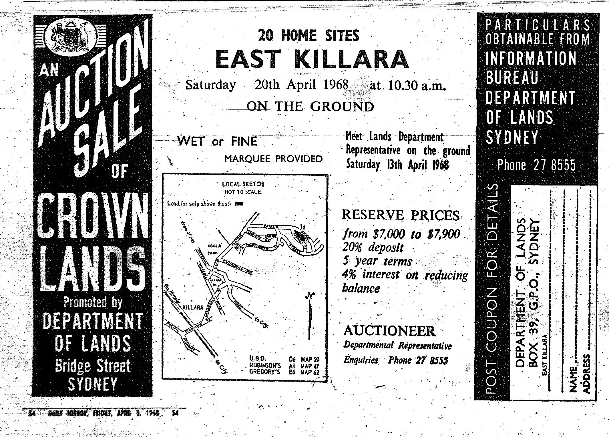 East Killara Ad April 5 1968 daily mirror 55