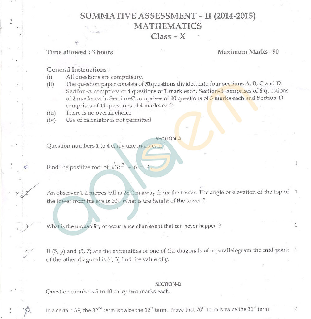 CBSE Class 10 SA2 Question Paper – Maths | AglaSem Schools