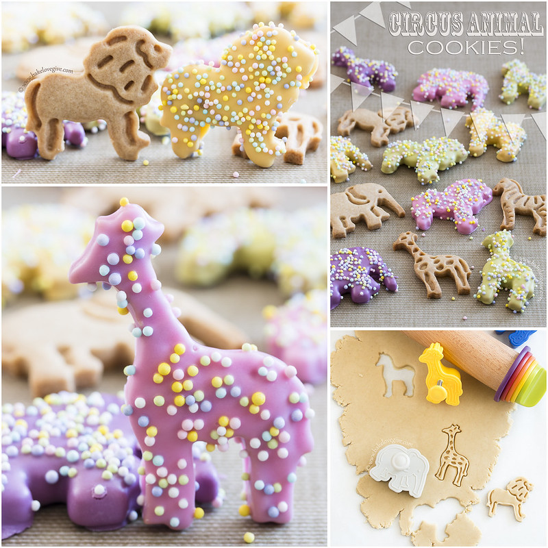 Spring Circus Animal Cookies made using Homemade Oat Flour