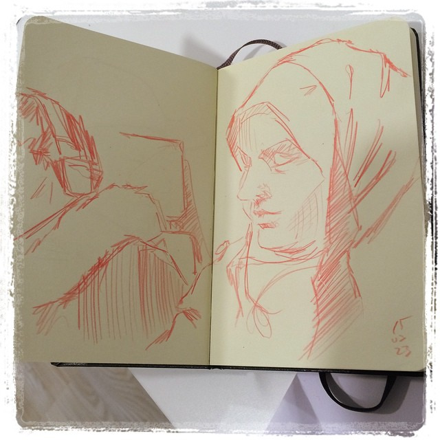 #urbansketch #portrait #train #pencil