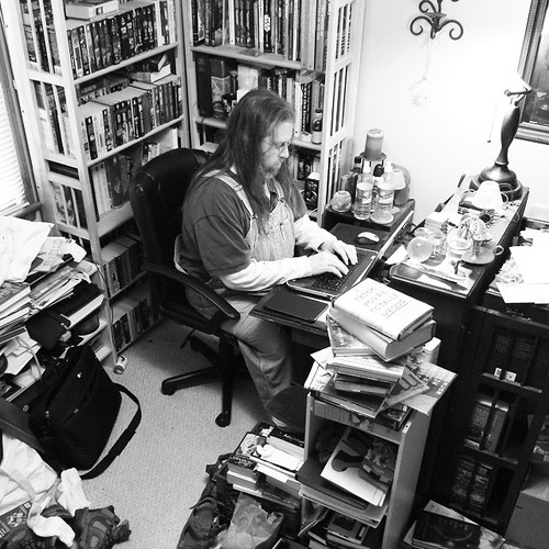 How do you know I'm on a writing tear? My writespace is a right proper mess. #AmWriting #messydesk #overalls #vintage