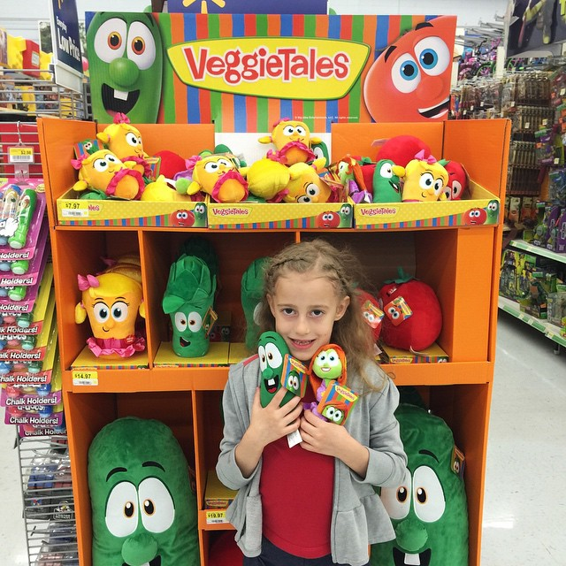 When I picked up Autumn from school early last week for a doctor appointment, they were watching a VeggieTales movie. She was so excited to see the VeggieTales display at Wal-Mart!! 🍅🍅🍅 You can see she found two little veggies to take