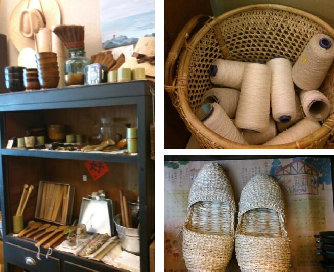 各式民具:左圖可見藺草帽、棕櫚鬃掃帚、各色竹製食器、亞鉛畚箕。右上黃藤編藍中裝著麻線、棉線。右下為藺草鞋。(筆者攝於 「綠兔子工作室 」)