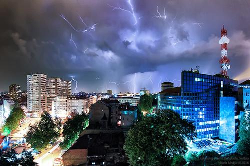 city longexposure blue light sky storm nature skyline night clouds skyscape landscape cityscape serbia stormy lightning belgrade rts beograd thunder noc srbija nocna nocne tasmajdan nocu