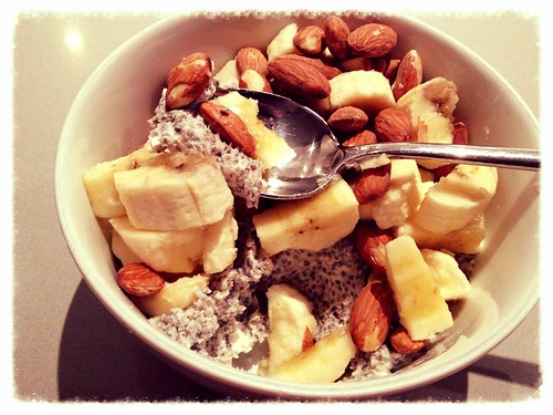 Chia Pudding with coconut milk, almonds, banana
