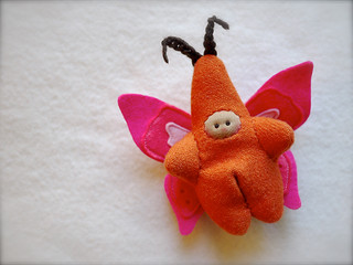 Orange/Pink BUTTERFLY: tan