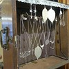 Curbside find: an old dresser drawer now a jewelry shelf, with eyelet lace to hang earrings. #trashpicker #trashtotreasure #retaildisplay