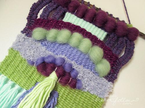 purple green weaving