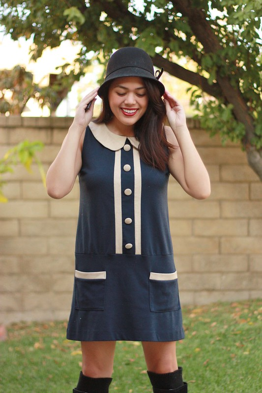 Modcloth mod 60s shift dress with Seychelles boots and cloche hat by Sweets and Hearts