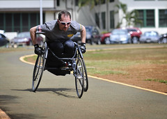 Retired Lt. Steve Simmons participates in race chair