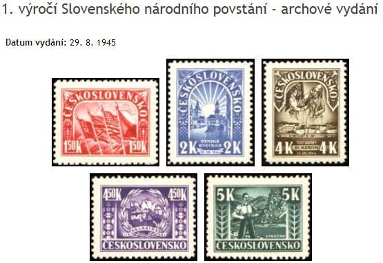 Známky Československo 1945, 1. výročí Slovenského národního povstání - archové vydání