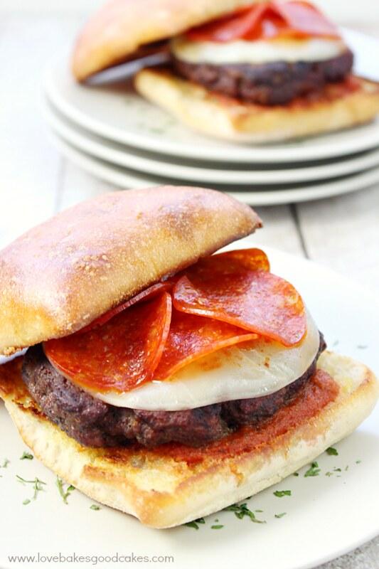 Italian Pepperoni Burgers on plates.