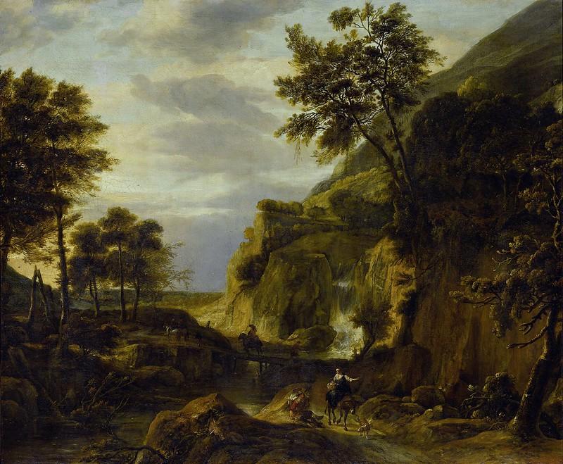 Roelant Roghman - Berglandschap met waterval (c.1670)