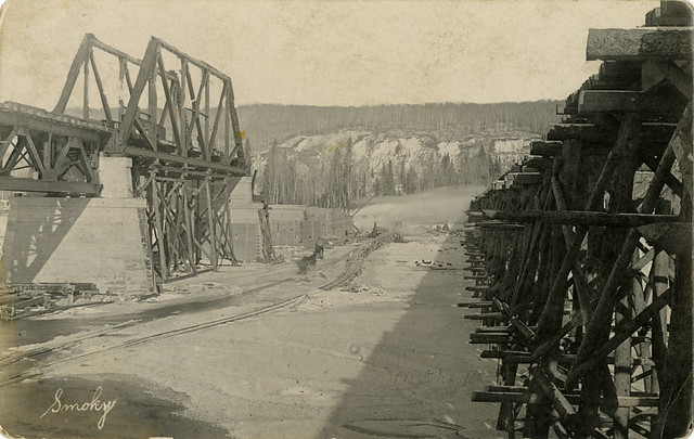 Railway Bridge Over the Smoky River, [ca. 1915]