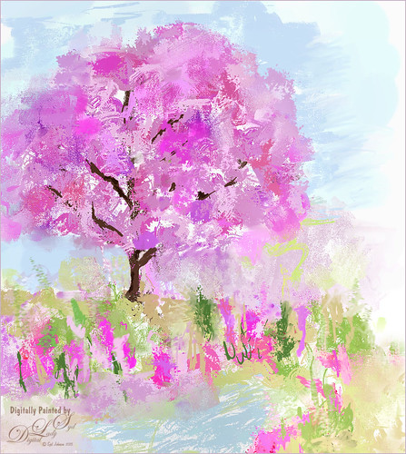 Image of a Cherry Tree painted in Corel Painter and Photoshop