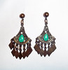 Vintage Etruscan Revival Dangle Earrings w/ Turquoise Enamel