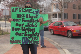 Campus workers protest to save bus drivers