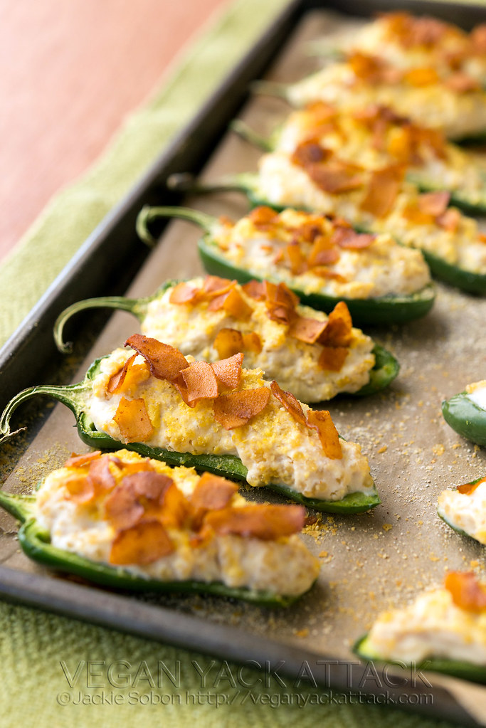 Creamy Quinoa Jalapeno Poppers with Coconut Bacon on a baking sheet