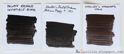 Private Reserve Invincible Black vs Noodler's HOD vs Noodler's Whaleman's Sepia