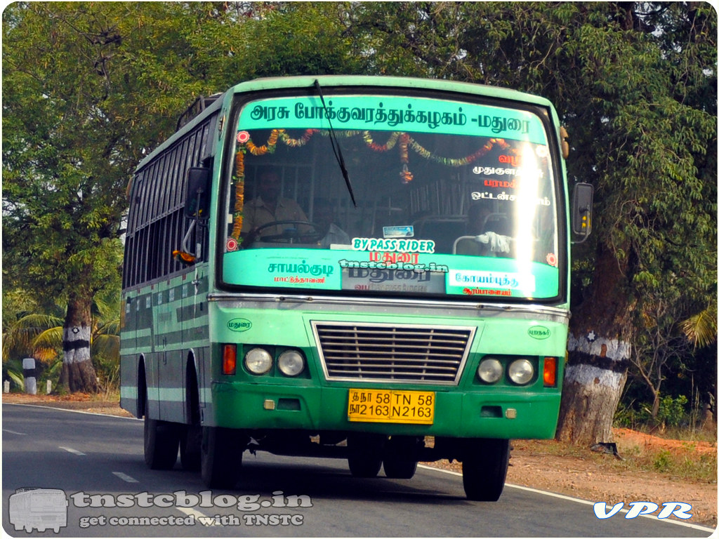 TN-58N-2163 of Puranagar Depot Route Sayalkudi - Coimbatore via Mudukulathoor, Paramakudi, Madurai, Ottanchatiram, Dharapuram.