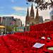 A sea of poppies in Federation Square