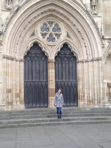 Standing in front of one of the U.K.'s largest cathedrals in York, England.