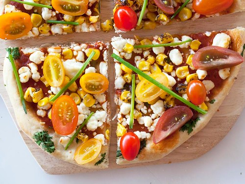 JACKIE ALPERS FOOD PHOTOGRAPHY: Goat cheese and corn pizza