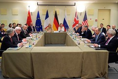 U.S. Secretary of State John Kerry sits with his counterparts from Germany, China, the European Union, France, the United Kingdom, and Russia on March 29, 2015, in Lausanne, Switzerland, before a coordinating meeting among the P5+1 partner nations about negotiations over the future of Iran's nuclear program. [State Department Photo / Public Domain]