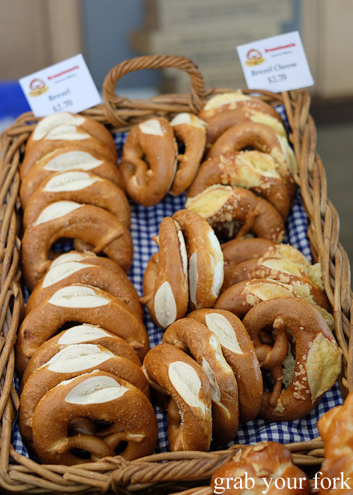 Pretzels by Brezelmania German bakery at City Market, Wellington