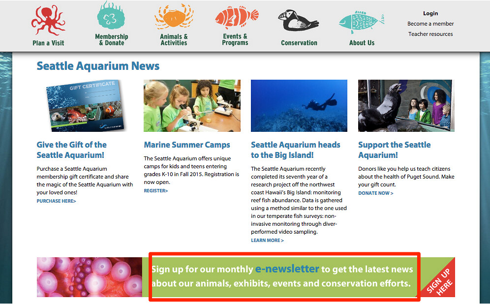 Seattle Aquarium website