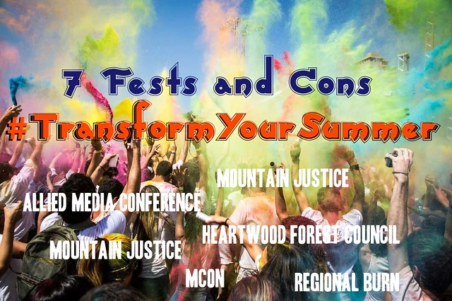 7 Fests and Convergences to Transform Your Summer Graphic featuring MCON AMC UPRSNG Mountain Justice Neighbor Power Morel Festival and AMC