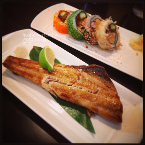 Grilled Fish, Assorted sushi roll 烤魚,花壽司