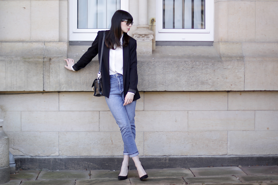 fashion fashionblogger outfit jeans blazer simple business look asos zara topshop proenza schouler brunette bangs ricarda schernus blog blogger germany 4