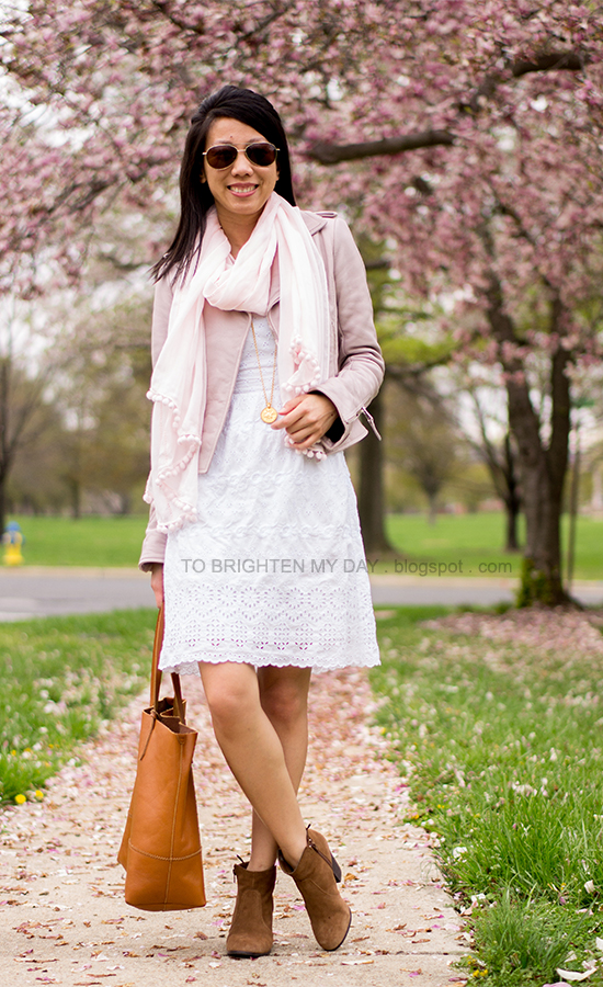 lilac leather jacket, pink scarf, white eyelet dress, brown suede ankle boots