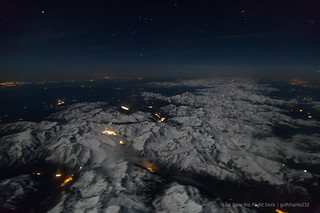 The Pyrenees lit up by the moon