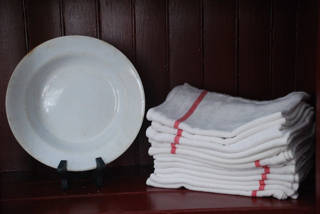 Ironstone Dish and French Linens