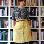 Yellow Button Front Skirt